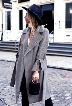 Plaid trench coat.