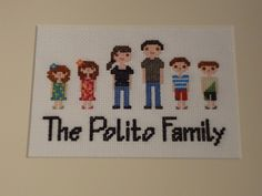 Custom Cross-Stitched Family Portrait W/ Frame.