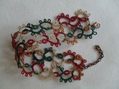 Bracelet en dentelle de frivolite, bracelet dentelle multicolore, bracelet crochet, bracelet fait mains
