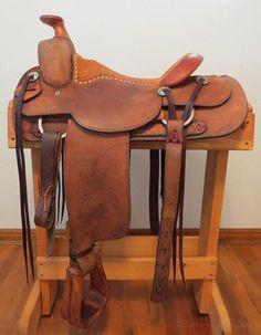 "9088 Handmade Larry Duggan Cowboy Saddle Shop Rough Out 15 ¼"" Roping Saddles, Horse Saddles, Saddle Shop, Western Horse Tack, Wild West, Leather Working, Larry, Westerns, Ranch"