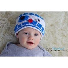 c77d7eabe1d Milk protein cotton yarn handmade baby R2D2 hat - fits 3-12 month baby  Knitted