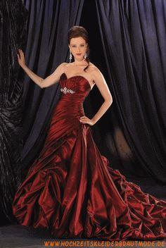 Luxuriöses rotes Brautkleid aus Taft mit langer Schleppe 2012