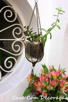 Casa Com Decoração- Blog de Decoração: Decorando sem gastar nada- Vaso de plantas suspenso
