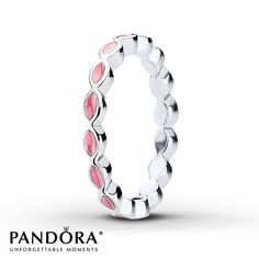 Pandora Ring Pink Enamel Sterling Silver- love this one but want it in black or white! size 5