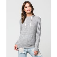 Full Tilt Marled Womens Hoodie ($25) ❤ liked on Polyvore featuring tops, hoodies, long hooded sweatshirt, marled hoodie, long hoodie, raglan top and sweater pullover