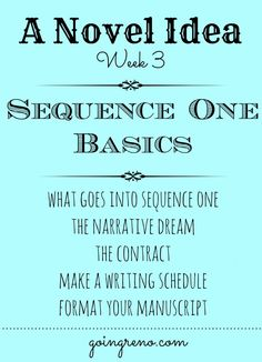Week three of A Novel Idea--we finally start to write this week! YAY! We're talking about what goes into sequence one, the narrative dream, the contract between the writer and the author, making a writing schedule, and formatting your manuscript. Whew! Ready for this?