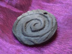 Pit Fired Spiral Focal Bead in Clay OOAK by spinningstarstudio, $3.00