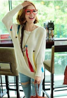 womanliness Stylish Watercolor Dolman Sleeve White Pullover  Pullover from stylishplus.com