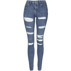 TopShop Moto Super Rip Jamie Jeans (1,335 HNL) ❤ liked on Polyvore featuring jeans, pants, bottoms, pantalones, mid stone, skinny jeans, high rise skinny jeans, high waisted jeans, ripped jeans and high-waisted jeans