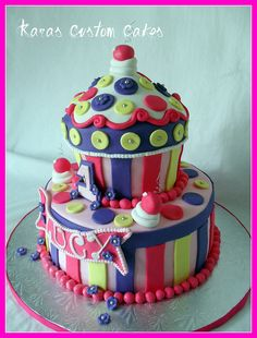 Cupcake Cake - love the colors not big on the buttons