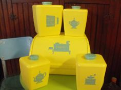 Vintage 1950's Burrite Lustro Ware Butter Yellow by peacenluv72, $79.50