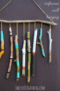 DIY Nursery Decor Ideas for Boys - Drift Wood Wall Hanging - Cute Blue Room Decorations for Baby Boy- Crib Bedding, Changing Table, Organization Idea, Furniture and Easy Wall Art art diy art easy art ideas art painted art projects Painted Driftwood, Driftwood Art, Driftwood Mobile, Craft Projects, Crafts For Kids, Arts And Crafts, Craft Ideas, Decor Ideas, Garden Projects