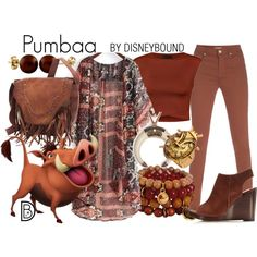 Pumbaa by leslieakay on Polyvore featuring Ally Fashion, Paul Smith, Splendid Pearls, Ruby Kats, disney and disneybound