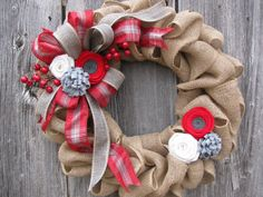 Hey, I found this really awesome Etsy listing at https://www.etsy.com/listing/206572767/winter-burlap-wreath-red-and-gray-plaid