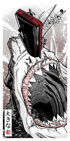 from Gallery Guzu's Pop Culture Art Show, 'Strange Beasts: A Tribute to the Japanese Kaiju Phenomenon' Hai Tattoos, Strange Beasts, Shark Art, Screen Print Poster, Pop Culture Art, Alternative Movie Posters, Rock Posters, Geek Art, Fish Art