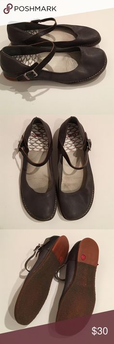 Camper Mary Janes Camper brand Mary Jane style shoes in slate blue/gray and black leather with a crepe sole. Beautiful shoes with attention to detail. Comfortable too! Perfect for work or wearing around town. Excellent condition. These are pre-owned. First photos in listing are stock photos for color reference. Camper Shoes Flats & Loafers