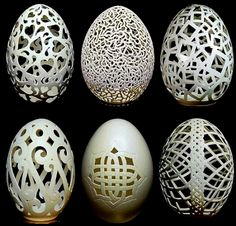 Beautiful Carved Egg Shells::by Chinese artist Wen Fuliang. How do the shells not crack???
