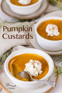 Rich and creamy Pumpkin Custards in small ramekins are a great gluten-free option for desserts, especially for the holidays like thanksgiving and Christmas. These are smooth and velvety crustless pumpkin pies will become a favorite in your house.
