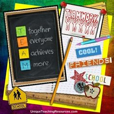 T.E.A.M.  (Together Everyone Achieves  More!) Download a free one page poster of this graphic on Unique Teaching Resources.