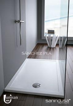 Plato de ducha extraplano de cer mica blanca o negra step in de unisan sanindusa tratamiento - Suelos de ducha antideslizantes ...