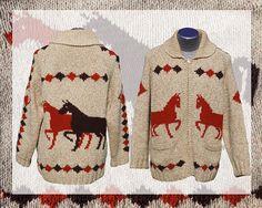 Vintage Cowichan Wool Sweater // Horse Motif // by VintageFanAttic, $150.00
