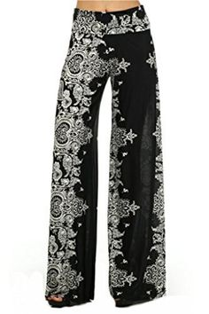 Women's High Sheer Waist Wide Leg Stretchy Guacho Palazzo Pants - Black - Large