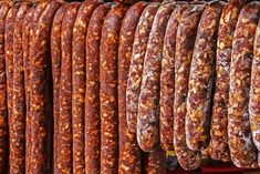 Various types of romanian sausages carnati , smoked and dried, exposed for sale Shall specify for the month of December Homemade Sausage Recipes, Homemade Biscuits Recipe, Biscuit Recipe, Chorizo, Halloumi Burger, Cookbook Recipes, Cooking Recipes, Romania Food, Curing Salt