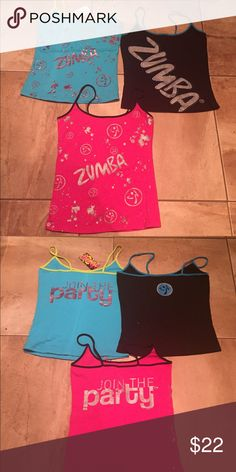 Zumba Spaghetti Tanks Three Zumba spaghetti strap tanks.  Hard to find styles.  All size S.  Blue is new with tags.  Black has never been worn but no tags.  Pink has been worn twice but is excellent shape.  Great deal! Zumba Tops Tank Tops