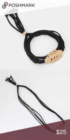 """Limited Edition🌻Gold Leaf Wrap Braclet Matte Gold Leaf Wrap Bracelet in Black. Limited Edition. Only find here! 21"""" inches long. Lead & Nickel free, brand new. From Farah boutique. Farah Jewelry Jewelry Bracelets"""