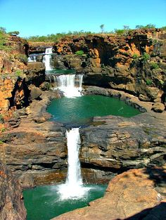 Mitchell Falls, Western Australia - Places to see on a road trip in Australia! Except everything in Australia can kill you! Beautiful Places To Visit, Wonderful Places, Beautiful World, Amazing Places, Beautiful Waterfalls, Beautiful Landscapes, Western Australia, Australia Travel, Australia Destinations