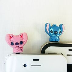 iPod - iPhone - Samsung - HTC - Disney Lilo and Stitch 2 for 1 price - Cell Phone Dust Plug. $15.00, via Etsy.