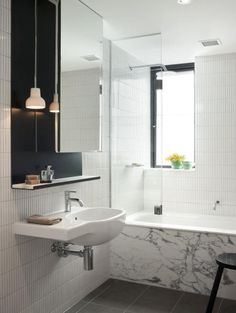 love the light and the mirror cabinet!  desire to inspire - desiretoinspire.net - Stalking on aSaturday