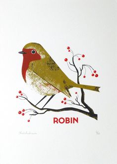 'Robin' - Chris Andrews screen print Limited edition Screen print, printed by artist Christmas Graphics, Christmas Art, Christmas Shopping, Robin Drawing, Christmas Graphic Design, Fabric Birds, Bird Pictures, Bird Design, Bird Prints