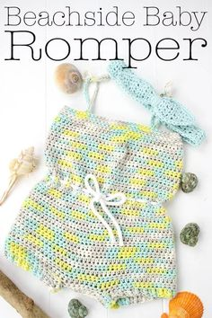 Beachside Baby Romper Free Crochet Pattern - Winding Road Crochet The Beachside Baby Romper is a perfect outfit to enjoy the rest of the summer in. This free crochet pattern is designed for beginner and makes a great gift. Crochet Romper, Baby Girl Crochet, Crochet Baby Clothes, Crochet For Kids, Free Crochet, Quick Crochet, Crochet Baby Outfits, Crochet Baby Bikini, Crochet Toddler