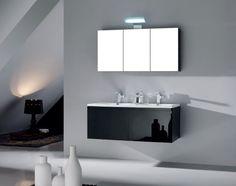 ARREDO BAGNO MOBILE DOPPIO MOBILE BAGNO PENSILE NERO DA 120 CM LACCATO COMPLETO - C&G Home design