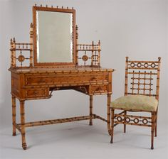 Aesthetic Movement Maple Faux Bamboo Dressing Table and Chair, Attributed to R.J. Horner & Co., New York.