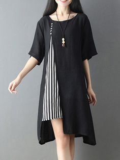 One-Piece Dress-Comfortable Round Neck Short Sleeve Switching Casual Dress Half Sleeve Dresses, Plus Dresses, Linen Dresses, Simple Dresses, Casual Dresses, Black Dresses Online, Dress Outfits, Fashion Dresses, Kurti Designs Party Wear