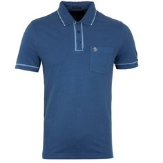 Penguin Earl Dark Denim 60th Anniversary Slim Fit Polo Shirt ($64) ❤ liked on Polyvore featuring tops, slim polo shirts, slimming tops, blue top, polo shirts and blue polo shirt