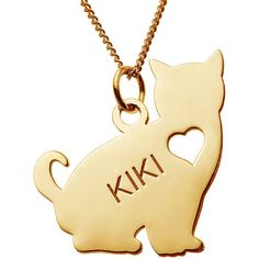 Personalized Sitting Cat 14K Yellow Gold Over Sterling Silver Pendant... ($100) ❤ liked on Polyvore featuring jewelry, necklaces, 14k gold necklace, 14k yellow gold necklace, 14k gold pendants, gold pendant necklace and sterling silver necklace