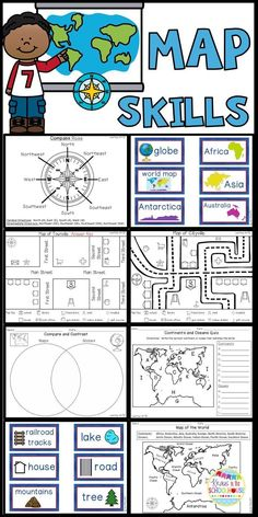 Are you teaching your students map skills? This product will help your students compare and contrast maps and globes. It will enable students to identify the continents and oceans of our world. They will practice using cardinal and intermediate directions Geography Activities, Social Studies Activities, Teaching Social Studies, Easel Activities, Teaching Maps, Teaching Geography, Teaching Resources, Teaching Map Skills, Geography Interactive Notebook