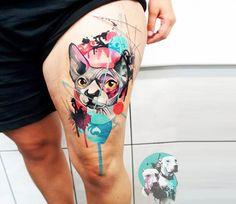 Sphynx Cat tattoo by Dynoz Art Attack