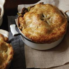 Chicken Pot Pies with Fall Vegetables and Golden Cheddar Crusts