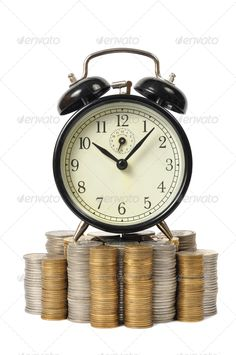 Realistic Graphic DOWNLOAD (.ai, .psd) :: http://jquery.re/pinterest-itmid-1006745210i.html ... Time is Money, Clock on Coins ...  alarm clock, cash, coins, currency, isolated, money, savings, stacks, time, white background  ... Realistic Photo Graphic Print Obejct Business Web Elements Illustration Design Templates ... DOWNLOAD :: http://jquery.re/pinterest-itmid-1006745210i.html