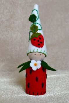 Strawberry Peg Gnome Fruit Peg Gnome Spring by LasManitos