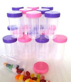 Buy today at Decojars.com !!  20 Pill Bottle Jars Doc McStuffins Party Favor Candy Container #3814 DecoJars.com Made in the USA  Quick Ship!