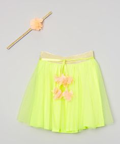Look what I found on #zulily! Neon Yellow Overlay Skirt & Headband - Girls #zulilyfinds