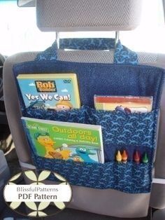 Car Seat Organizer idea-for tiny infants, keep spare diapers, wipes, cleaning supplies, changing pad, etc.  I'll make the pockets deeper and the entire thing longer so that it can be tied at the base of the seat so the ties won't bother the person in the seat.