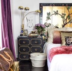 Louis vuitton bag decor black white jewel color toned purple curtains bedroom black dresser diy ikea hacks glam boho bohemian look inspiration - Glam Bedroom, Bedroom Black, Bedroom Art, Artistic Bedroom, Bedroom Ideas, Bedroom Inspo, Bedroom Inspiration, Interior Inspiration, Purple Curtains