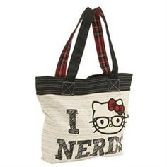 Loungefly Hello Kitty Nerd Tote (00671803006508) Double black denim and red  plaid handles with a7b893380aa94