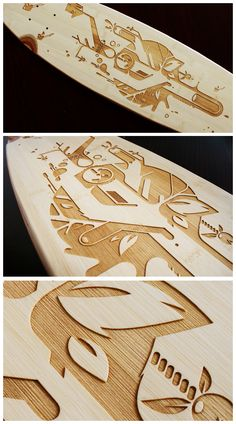 Wood and other wood products are my personal design gods. Bamboo laser longboard by Christian ARO Schupp